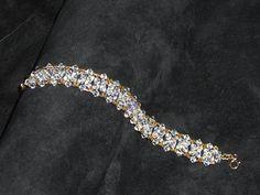 Bridal or evening gold bracelet with Swarovski by CreationsChantal, $50.00