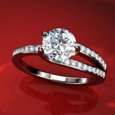 Modern 3 Prong Micro Pave Engagement Ring