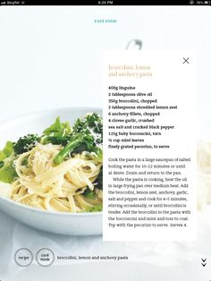 Broccolini, lemon and anchovy pasta