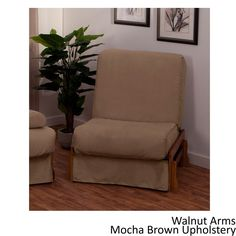 EpicFurnishings Boston Perfect Sit & Sleep Transitional-style Pillow Top Chair Sleeper (Natural Arms with Leather Look Brown Upholstery)