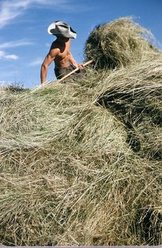 Bales of hay...and a good lookin' man.