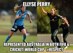 Elyyse Perry: Represents Australia in both FIFA and Cricket WC India Cricket Team, Cricket World Cup, Test Cricket, Cricket Sport, Dhoni Quotes, Cricket Quotes, Soccer Memes, Intresting Facts, Sports Celebrities