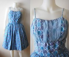 The Petal  Vintage 50s Sheer Gathered Party Prom by winstonvintage, $110.00
