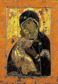I love the Icon of La St. Vierge de Vladimir Since I studied the Christian Iconography the Holy Mother of God accompanies me in pictorial form as a wonderful icon Byzantine Icons, Byzantine Art, Early Christian, Christian Art, Religious Icons, Religious Art, Art Romain, Russian Icons, Russian Painting