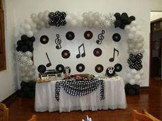 Music party theme centerpieces wedding ideas 21 ideas for 2019 50s Theme Parties, Music Themed Parties, 70s Party, Retro Party, Party Themes, Birthday Parties, Disco Party Decorations, Birthday Decorations, Music Centerpieces