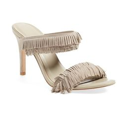 Joie 'Poppi' Fringe Slide Sandal (Women) ($110) ❤ liked on Polyvore featuring shoes, sandals, dove kid suede, leather sandals, leather strap sandals, leather fringe sandals, genuine leather shoes and slide sandals