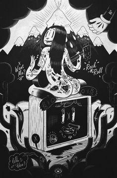 Rock n roll by yes i do, via behance fine arts татуировки, и Retro Cartoons, Old Cartoons, Vintage Cartoon, Cartoon Art, Graphic Design Illustration, Graphic Art, Illustration Art, Figure Sketching, Lowbrow Art