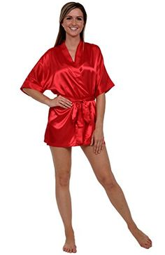 Del Rossa Women's Satin Robe, Short Dressing Gown, Medium Red (A0754REDMD). Premium silk-like satin lounge robe for everyday use. Lightweight design for lounging in comfort and style. Inside tie closure for added security while doing hair and make-up. Durable 100% polyester satin that is easy on the skin and long lasting. Machine washable; see product description for easy care instructions and best practices.