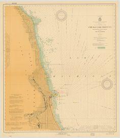 Lake Michigan  Milwaukee Harbor Historical Map  1939  Lake