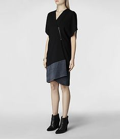 Womens Alvar Dress (Black/Ink) | ALLSAINTS.com