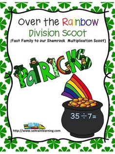 Over the Rainbow Scoot is a fun and exciting game that gets all of your kiddos up and moving around the room. It can be used as a preview to see what your students already know, as a review or as an assessment after teaching division facts. This is the fact family to our Shamrock Multiplication Scoot if you wanted to get both sets and use them in a center. $