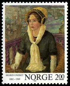 Norway, stamp of novelist Sigrid Undset (1882-1949)