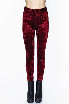 Crimson Velvet Skinny Trousers #style