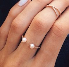 14kt Barbella pearl and diamond ring – Luna Skye by Samantha Conn