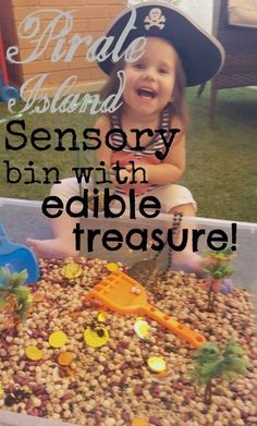 No time for complicated sensory bin fillers? No problem! This sensory bin has it all.fun textures, dress up, even chocolate treasure.a sure fire winner! Pirate Island, Sensory Bins, Family Activities, Baby Baby, Fun, Posts, Chocolate, Dress, Messages