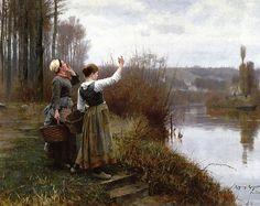 Daniel Ridgway Knight - Hailing the Ferry [1888]  http://www.annabelchaffer.com/