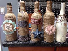 ~*~ Wine Bottle Decor~Twine, Country, Primitive, Cute, Flowers, Rhinestones, Crackle Paint, Key ~*~