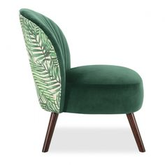 Our Sofia Accent chair in Palm Leaf Print Velvet with high-quality wooden legs in dark brown is a stylish Art Deco-inspired chair, perfect for a relaxing seat in the bedroom or as a reading chair for the living room. The Sofia Chair is available in a selection of eight different and luxurious colours including; black, palm leaf print, grey, pink, blue, green, orange, and teal. This curved armchair has an elegant back with fan stitched design which gives a distinct Gatsby feel to your home. The Modern Furniture, Furniture Design, Bedding Sets Uk, Green Armchair, Living Room Orange, Sofa Sale, Classic Interior, Chairs For Sale, Mid Century Design