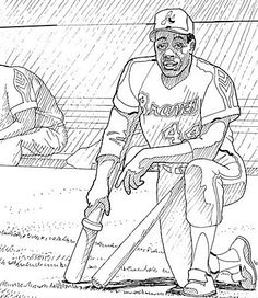Hank Aaron American Baseball Hall Fame Kids Coloring Pages Colouring Pictures
