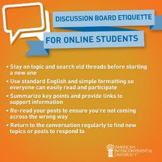 Discussion Board Etiquette for Online Students #onlineed #college