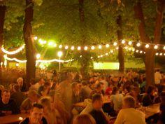 set up lights on deck for German Beer Garden