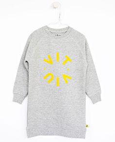 WILMA long sweat - Grey - Logo print A collaboration with Vitviu. Fleece Sweater, Kids Fashion, Logos, Sweatshirts, Grey, Collaboration, Sweaters, Cotton, Style