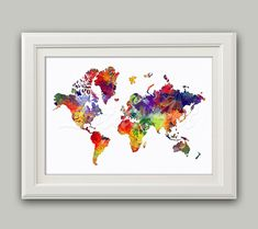 Items similar to World Map Print Colorful Watercolor World Map Wall Art Travel Map Vintage Style Map World Art Living Room Wall Art Home Decor Travel Art on Etsy Water Color World Map, World Map Wall Art, Travel Maps, Living Room Art, Pigment Ink, All Print, Paper Texture, Watercolor, Handmade Gifts