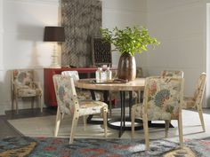 This round dining table from Thom Filicia for Vanguard is anything but boring!