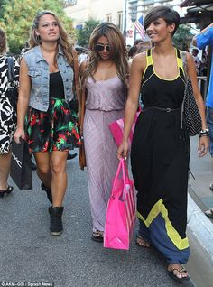 Celebrating Labor Day: The girls were accompanied on their trip to the outdoor mall by a friend