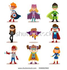 Superhero kids boys and girls cartoon vector illustration. Super children illustration. Super hero kids playing, fly, Super kids in action. Superkids flying, success people concept vector illustration - stock vector