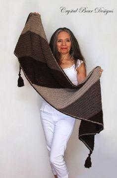 "Crochet Shawl PATTERN / Color Block Wrap with Tassels / Bias Scarf / Blanket Scarf / Made in Canada / Easy Crochet Pattern / ""Canyon Ridge"" Crochet Wrap Pattern, Crochet Poncho, Easy Crochet Patterns, Shawl Patterns, Knitting Patterns, Crochet Shawls And Wraps, Blanket Scarf, Tassel, Chunky Yarn"