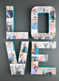 Photo collage letters {fun way to decorate with pictures} – It's Always Autumn Pretty photo letters! How to create a photo collage on paper mache letters for a fun way to showcase favorite pictures. Picture Collage Crafts, Letter Collage, Collage Ideas, Photo Collage On Wall, Letter Picture Collages, Photo Collage Design, Family Photo Collages, Picture Frame, Photo Craft