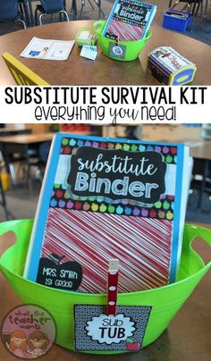 EDITABLE Substitute Survival Kit: Sub Tub! Everything you need to leave your sub while you are away! Sub plans have never been easier AND it's editable. Sub Binder, Substitute Binder, Substitute Teacher, Teacher Binder, Teacher Organization, Teacher Hacks, Teacher Stuff, Student Teacher, Survival Kit For Teachers