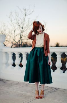 The colour combination is nice. Love the skirt! #fashion