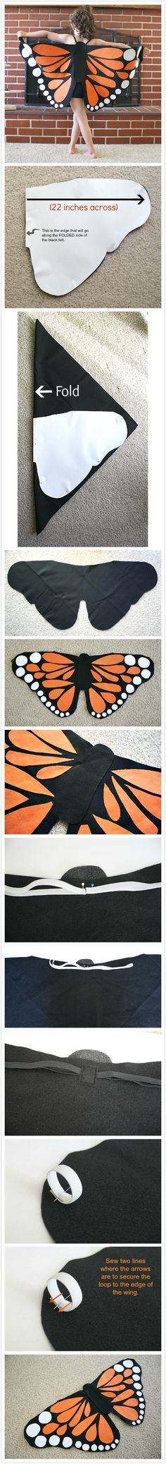 Diy deguisement papillon Monarque. Tuto. / Monarch Butterfly Wings Tutorial