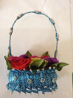 Ribbon flower basket made out of soap
