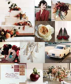 My wedding palette...cranberry red and peach