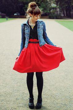 jean jacket + black tee + red skirt + black tights/heels