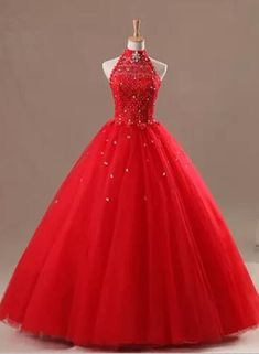 Halter Red Quinceanera Dresses for 15 Years Formal Prom Dress Party Gowns Quince Dresses, 15 Dresses, Ball Dresses, Pretty Dresses, Beautiful Dresses, Ball Gowns, Girls Dresses, Formal Dresses, Red Sweet 16 Dresses