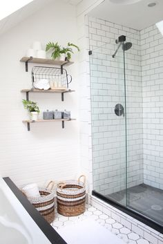 faux brick, tiles and minimal shower