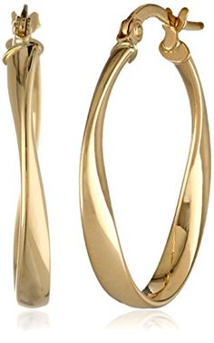 ON SALE AT http://jewelrydealsnow.com/?a=B009HN6Y24 - 14k Yellow Gold Polished Twisted Oval Hoop Earrings