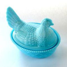 Blue Milk Glass Chicken Covered Dish  Westmoreland by YellAndPanic, $27.00
