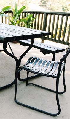 Choose some fun vintage modern outdoor chairs for additional seating and to add an updated look to the traditional picnic table.  Inspired by True Value.