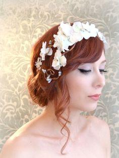 Boho wedding headband, flower crown, white bridal headpiece, whimsical wedding hair accessory