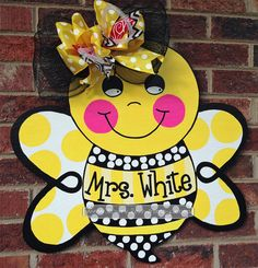 Personalized Bumble Bee Door Hanger Sign by SparkledWhimsy on Etsy