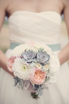 Succulent and garden rose bouquet | Photo by Anne-Claire Brun | Read more - http://www.100layercake.com/blog/?p=68650