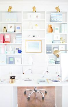 Clean White Office with Pops of Color!