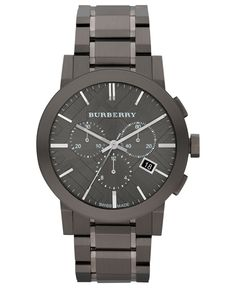 Burberry Watch, Men's Swiss Chronograph Gray Ion Plated Stainless Steel