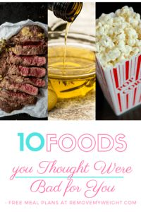 Top 10 Healthy Foods You Thought Were Bad for You - Menu Plan for Weight Loss Top 10 Healthy Foods, Healthy Food Choices, Healthy Recipes, 1200 Calories A Day, 7 Day Diet Plan, High Fat Foods, Belly Fat Diet, Nutritious Snacks, Grain Foods