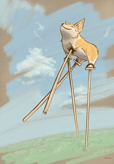 """Corgi Dreams"". Corgi on Stilts Illustration by Emily New. emilyillustrated.com"